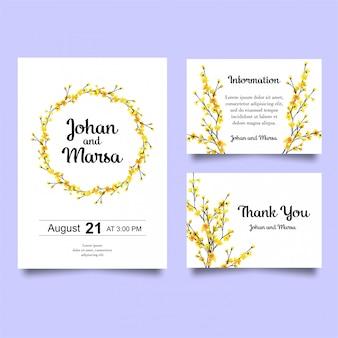Convite de casamento com flores amarelas