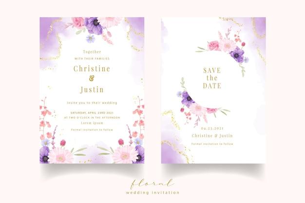 Convite de casamento com flores aquarela rosa, anêmona e gérbera