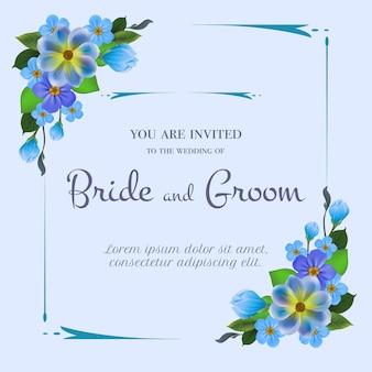 Convite de casamento com flores azuis sobre fundo azul claro.