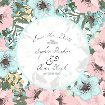 Convite de casamento com flores coloridas.
