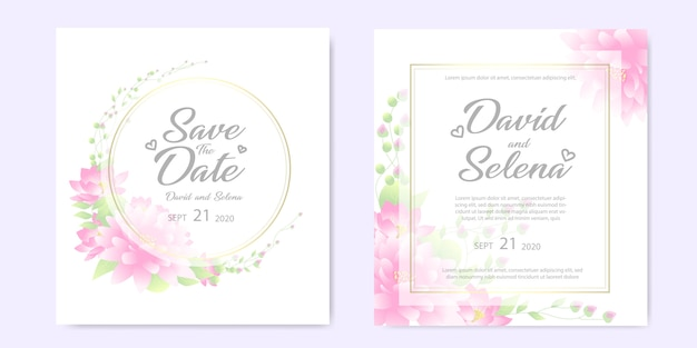 Convite de casamento com flores cor de rosa