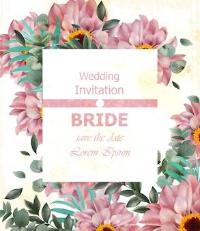 Convite de casamento com flores da margarida