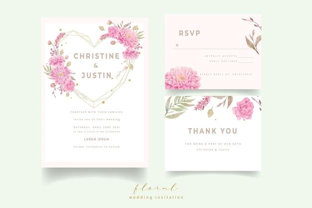 Convite de casamento com flores dálias em aquarela