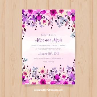 Convite de casamento com flores de aguarela roxa