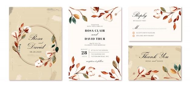 Convite de casamento com flores de algodão