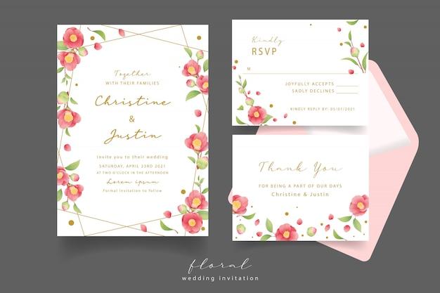 Convite de casamento com flores em aquarela camélia