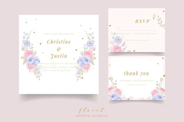 Convite de casamento com flores em aquarela