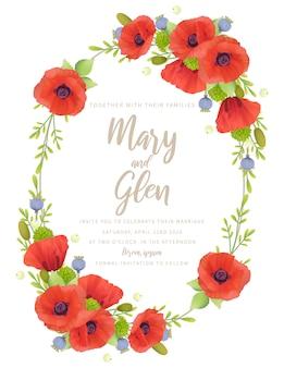 Convite de casamento com flores em papoula vermelhas florais