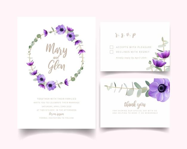 Convite de casamento com flores florais anêmona