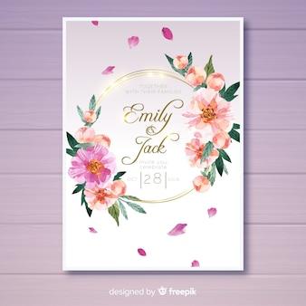 Convite de casamento com flores peônia linda