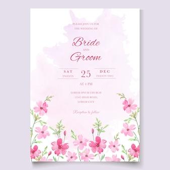 Convite de casamento com flores rosa