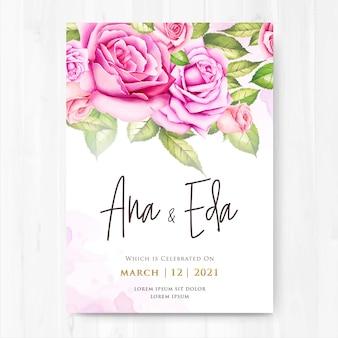 Convite de casamento com flores rosas aquarela