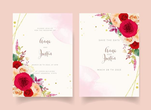 Convite de casamento com flores rosas vermelhas
