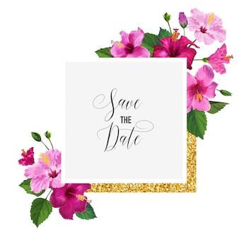 Convite de casamento com flores. salve o cartão de data