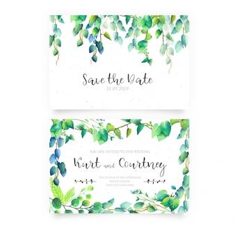 Convite de casamento com flores silvestres