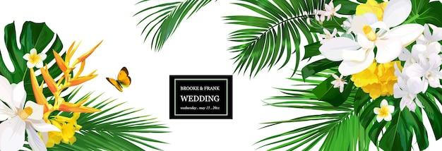 Convite de casamento com flores tropicais, orquídeas, magnólia e palmeira, folhas de monstera