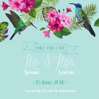 Convite de casamento com flores tropicais