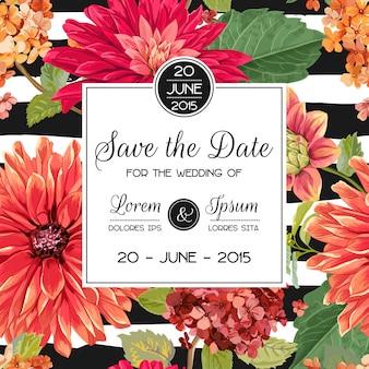 Convite de casamento com flores vermelhas de ásteres