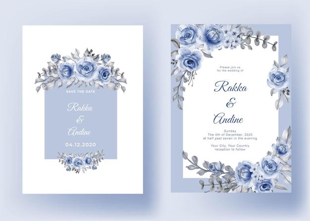 Convite de casamento com folha de rosa azul marinho cinza romântico