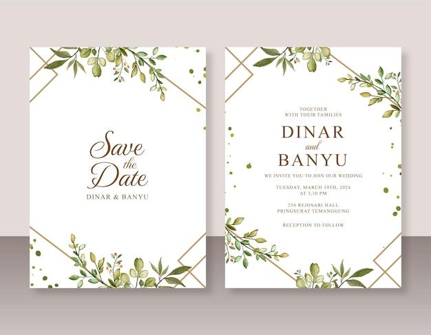Convite de casamento com folhagem aquarela e borda geométrica