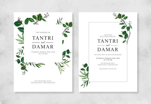 Convite de casamento com folhagem aquarela