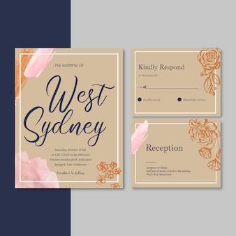 Convite de casamento com folhagem romântica, ilustração em aquarela de flor de luxo