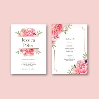 Convite de casamento com folhagem romântica