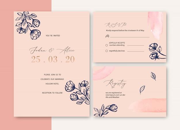 Convite de casamento com folhagem romântico, aquarela criativa flor