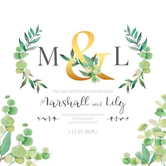 Convite de casamento com folhas de aquarela