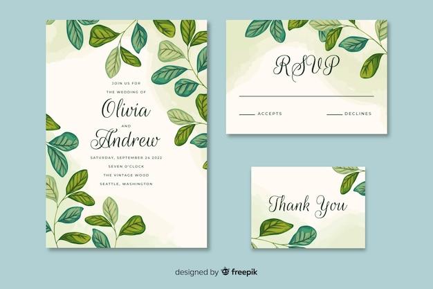 Convite de casamento com folhas de mão desenhada