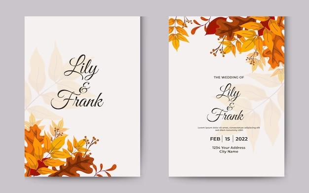Convite de casamento com folhas de outono folha decorativa amarela e marrom