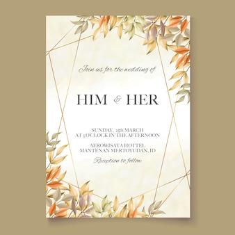 Convite de casamento com folhas de outono