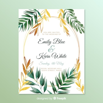 Convite de casamento com folhas de quadro