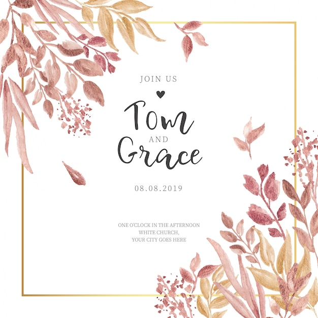 Convite de casamento com folhas douradas e quadro