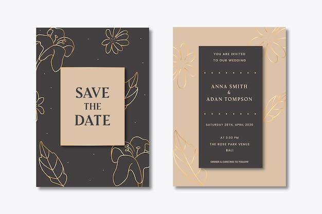 Convite de casamento com folhas douradas