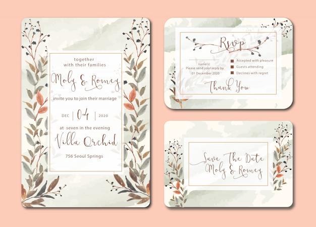 Convite de casamento com folhas em aquarela e amostras escova fundo