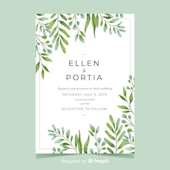 Convite de casamento com folhas em aquarela