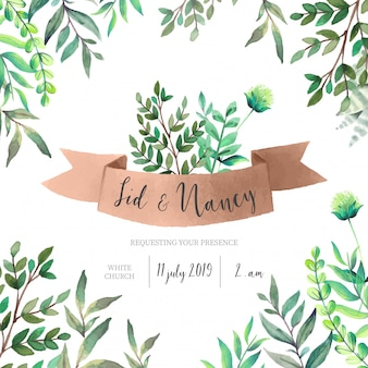 Convite de casamento com folhas verdes