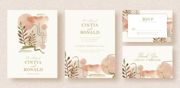 Convite de casamento com formas abstratas e aquarela floral