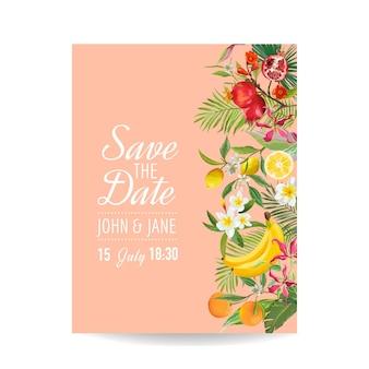 Convite de casamento com frutas tropicais e folhas de palmeira