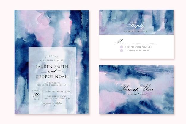 Convite de casamento com fundo aquarela abstrato rosa azul