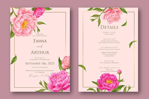 Convite de casamento com fundo aquarela flor rosa