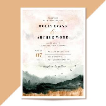 Convite de casamento com fundo aquarela paisagem abstrata