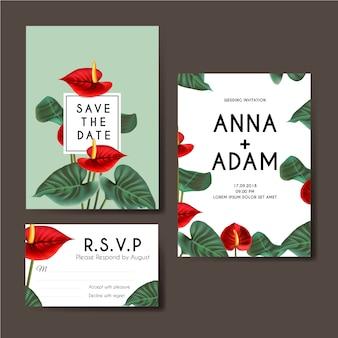 Convite de casamento com fundo de antúrio de flor