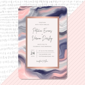 Convite de casamento com fundo de textura de mármore azul rosa.