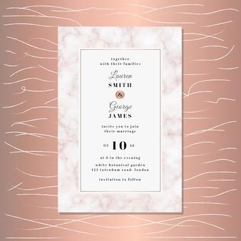 Convite de casamento com fundo de textura de mármore rosa