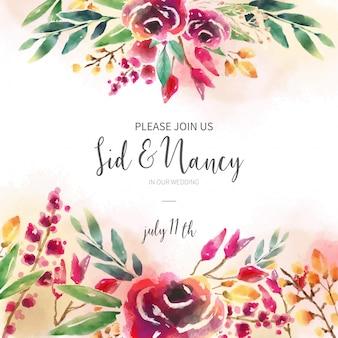 Convite de casamento com fundo floral