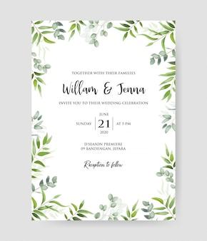 Convite de casamento com grinalda decorativa de ramos de eucalipto & padrão de quadro