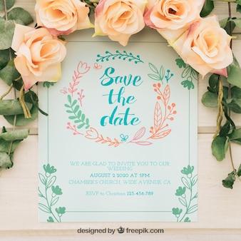 Convite de casamento com grinalda floral desenhada à mão