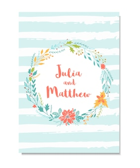 Convite de casamento com guirlanda floral, flores. modelo para aniversário, chá de bebê, menu, folheto, banner com caligrafia, obrigado e salve o cartão de data. Vetor Premium